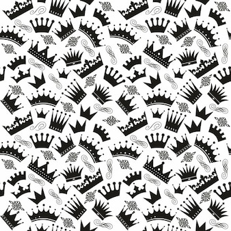 Black and white pattern with crowns