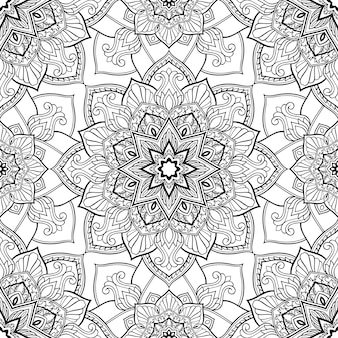 Black and white pattern with mandalas.