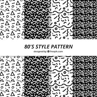 Black and white patterns in 80s style