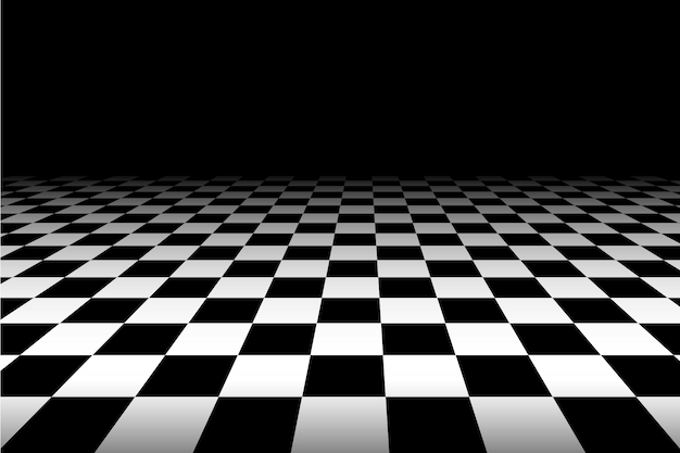 Black and white perspective checkered background - vector.
