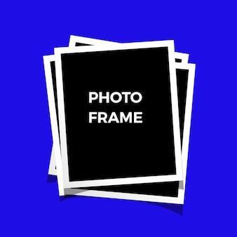 Black and white photo frames isolated on blue. vintage style. vector
