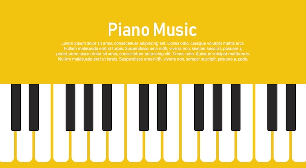 Black and white piano keyboard on a yellow  .