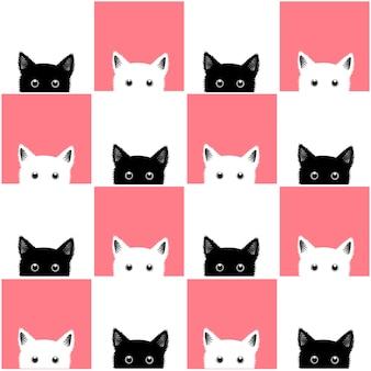 黒い白いピンクの猫のチェスボードの背景