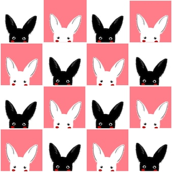 Black white pink rabbit chess board background
