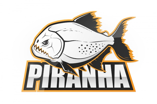 Black and white piranha fish emblem Premium Vector