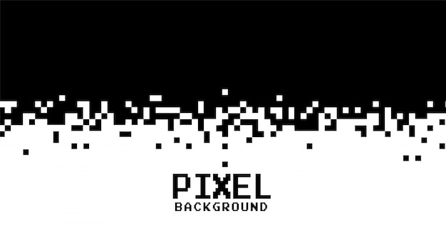 Black and white pixels background in flat style