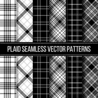 Black and white plaid, buffalo check, gingham seamless patterns set. fashion cloth textile, vector illustration