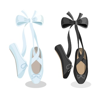 Black and white pointes female ballet shoes flat design on white background.  illustration of gym ballet shoes standing on tiptoes web banner.
