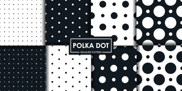 Black and white polkadot seamless pattern collection.