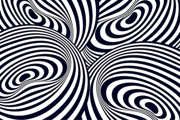 Black and white psychedelic illusion background