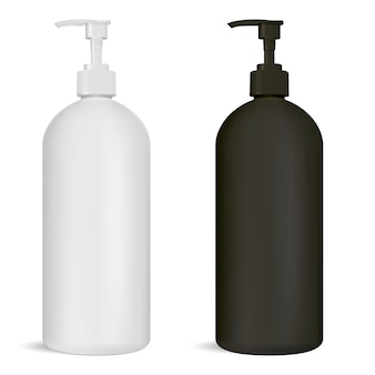 Black and white pump bottle set cosmetic package