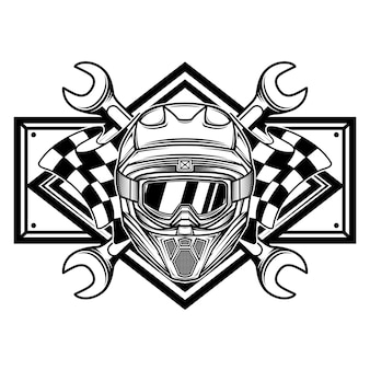 Black and white racing team logo