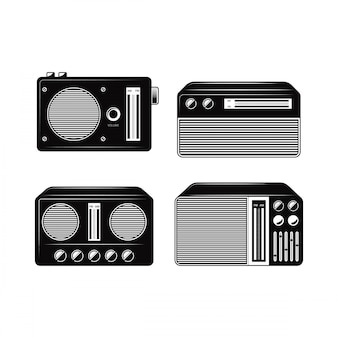 Black and white radio vector collections