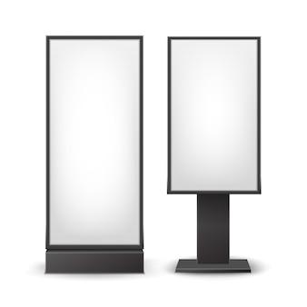 검은 색 흰색 직사각형 포스터는 배경에 고립 된 실내 광고 측면보기 기둥을 의미