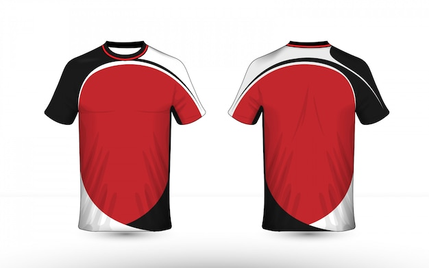 Black white and red layout e-sport t-shirt design template