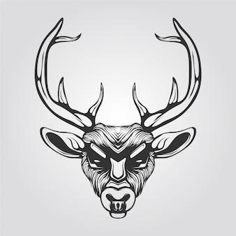Black and white reindeer line art