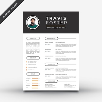 Black and white resume template with orange details