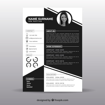 Black and white resume template Premium Vector