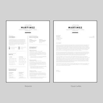 Black & white resume with cover letter template