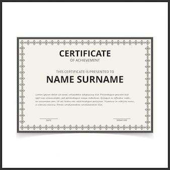 Black and white retro certificate