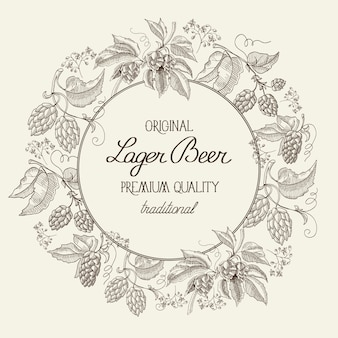 Black and white round wreath frame label