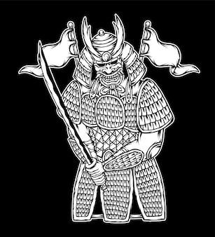 블랙 화이트 사무라이 전사 그림입니다. 프리미엄 벡터