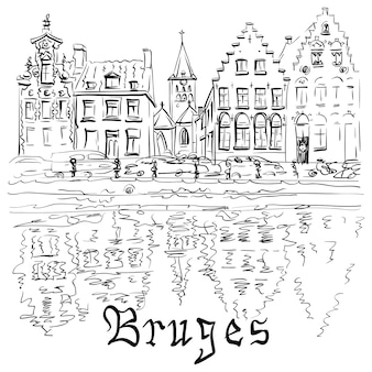 Black and white scenic city view of bruges canal with beautiful medieval houses, belgium