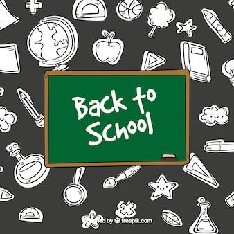 Elementi scolastici in bianco e nero con lavagna colorata