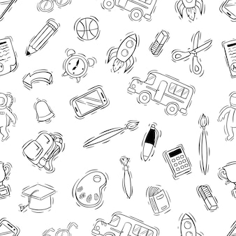 Black and white school supplies icons in seamless pattern