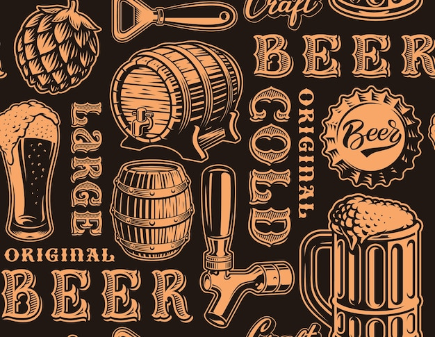 Black and white seamless background for beer theme in retro style