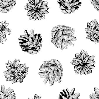 Black and white seamless natural pattern background design with pine cones