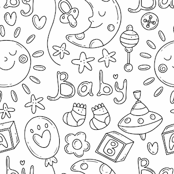 Black and white seamless pattern elements on the theme of the birth of a child in doodle style