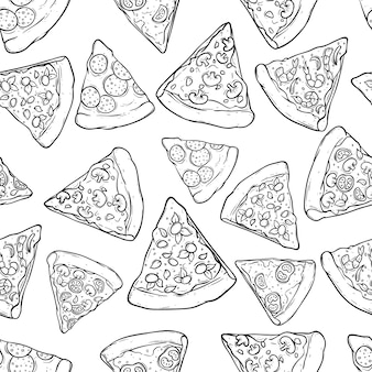 Black and white seamless pattern kind of pizza slice