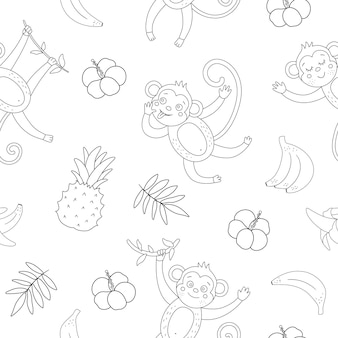 Black and white seamless pattern with cute monkeys and bananas.
