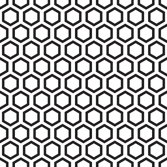 Black and white seamless pattern with hexagon