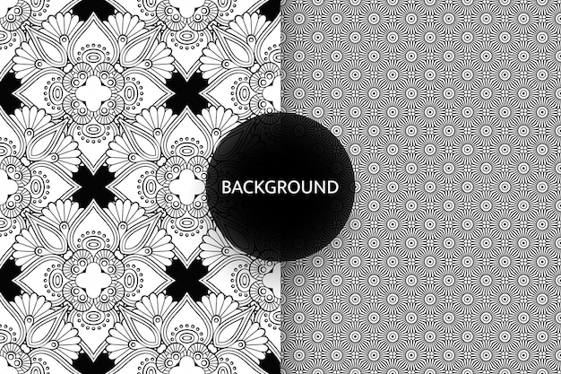 Black and white seamless patterns background