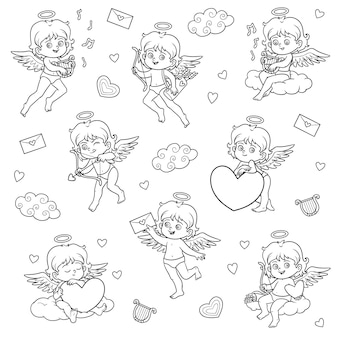 Black and white set of angels, vector characters of valentine's day