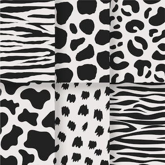 Black and white set of animal seamless prints