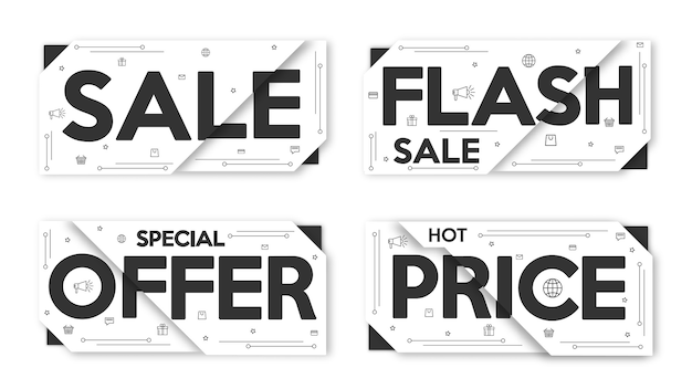 Black and white set sale banner. layout, price tag, badge, poster.