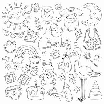 Black and white set with elements on the theme of the birth of a child in a simple cute doodle style