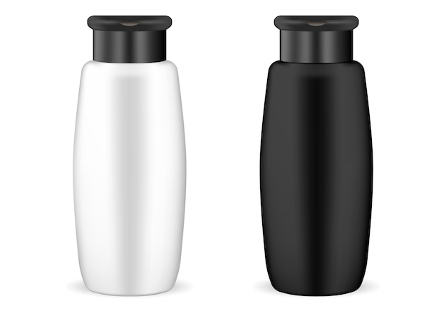 Black and white shampoo cosmetic bottle mockup set