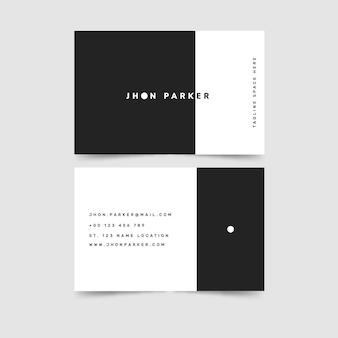 Modello di biglietto da visita bianco e nero design semplice