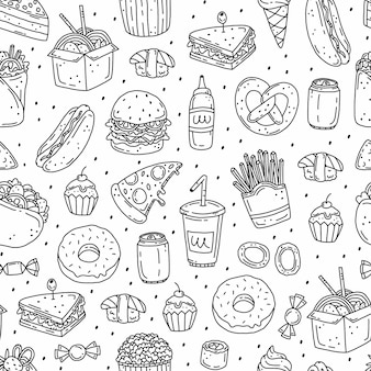 Black and white simple seamless pattern with fast food  in doodle style