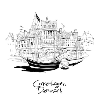 Black and white sketch of nyhavn with facades of old houses and old ships in the old town of copenhagen, capital of denmark.