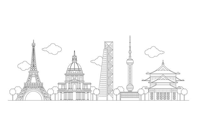 Black and white sketches landmarks