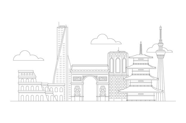 Black and white sketches outline landmarks skyline