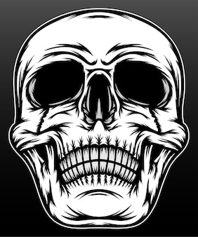 黒に分離された黒と白の頭蓋骨の頭