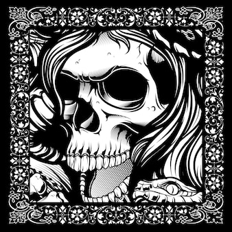 Black and white skull illustration