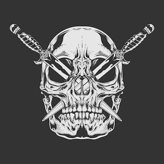 Black and white skull with crossed blade stuck on eyes