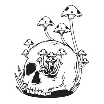 Black and white skull with mushroom
